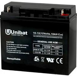 Μπαταρία AGM UNIBAT 12-18DC (12V, 18Ah/C20)