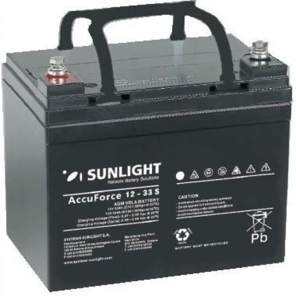 Μπαταρία AGM SUNLIGHT Accuforce Solar 12-33S (12V, 33Ah/C10, 34.6Ah/C20)