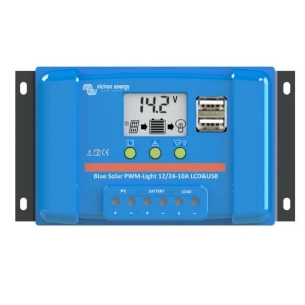 Ρυθμιστής Φόρτισης PWM VICTRON 5A 12/24V LCD&USB (BlueSolar PWM-LCD&USB 12/24V-5A)