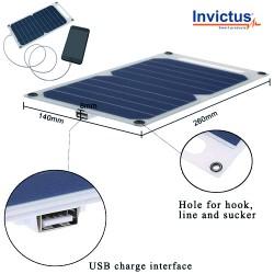 Ηλιακός Φορτιστής INVICTUS με Φωτοβολταικό Πάνελ 5W και Θύρα USB 5V-1A